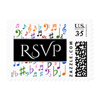 """""""RSVP"""" + Many Colorful Music Notes and Symbols Postage"""