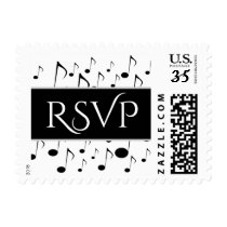 """RSVP""   Many Musical Notes Pattern Postage Stamp"