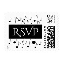 """""""RSVP""""   Many Musical Notes Pattern Postage Stamp"""