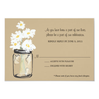 RSVP - Mason Jar filled with White Daisies Card