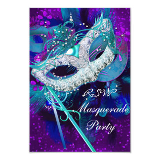 RSVP Masquerade Ball Party Teal Blue Purple Masks Card