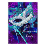 RSVP Masquerade Ball Party Teal Blue Purple Masks 3.5x5 Paper Invitation Card