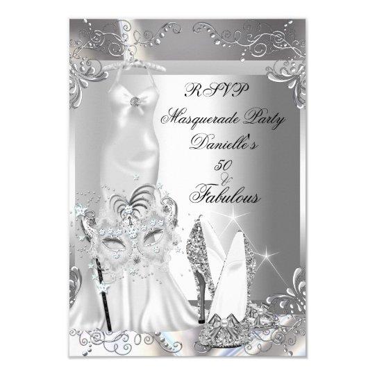 RSVP Masquerade Party Fabulous 50 Silver Card