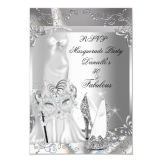 """RSVP Masquerade Party Fabulous 50 Silver 3.5"""" X 5"""" Invitation Card"""