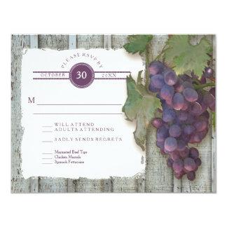 RSVP Meal Menu Options Vintage Wood n Vineyard Card