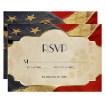 RSVP Military Wedding  Patriotic Vintage Flag Card