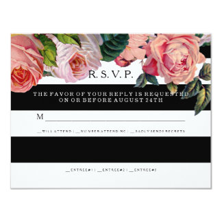 RSVP MODERN Chic Wide Stripes w Vintage Roses Personalized Announcement