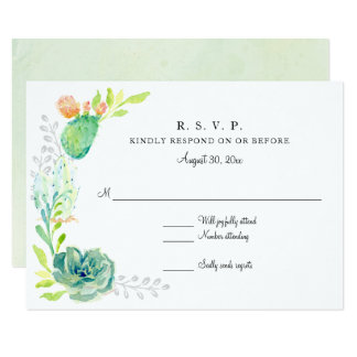 RSVP Modern Simple Watercolor Desert Cactus Floral Card