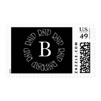 RSVP Monogram B Black and White - Customized Stamps