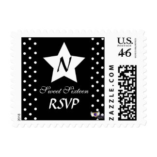 RSVP Monogram Star And Polka Dots Postage -Cust.