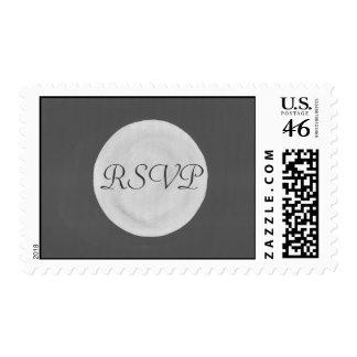 RSVP, Moonlight Moon on Black postage stamps