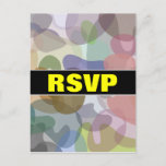 "[ Thumbnail: ""RSVP"" + Multicolored Watercolor Look Blob Pattern Postcard ]"