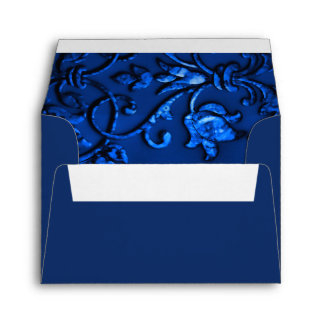 RSVP Navy Blue Damask with Any Color Envelope