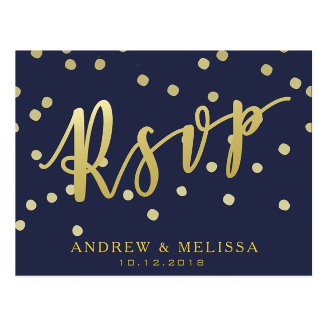RSVP | Navy Blue & Faux Gold Script Postcard