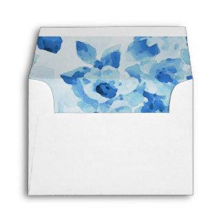 RSVP Navy Blue Watercolor Floral Envelope
