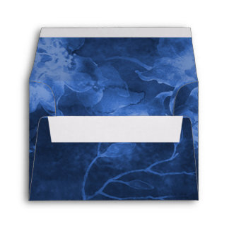 RSVP Navy Blue Watercolor Flowers Allover Envelope
