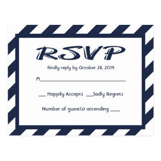 RSVP Navy Blue & White Stripe Nautical Postcard