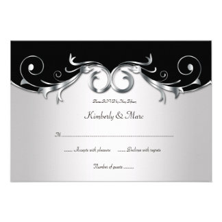 RSVP negro 3.5x5 y de plata elegante Invitación Personalizada