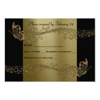 """Rsvp negro de Fidelity de la música de la mariposa Invitación 3.5"""" X 5"""""""