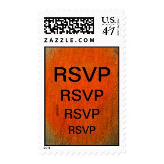 RSVP negro en el naranja Estampilla