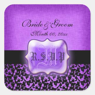 Rsvp negro púrpura que casa el damasco floral pegatina cuadrada