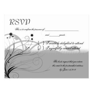 RSVP negro y gris clásico Postal