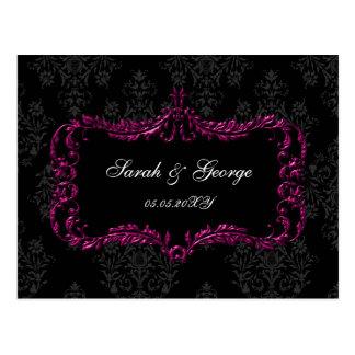 rsvp negro y rosado del flourish real del damasco