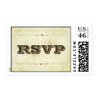 RSVP old vintage paper typography stamp