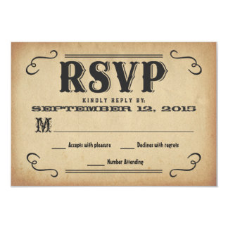 """RSVP Old West Rustic Wedding Reply 3.5"""" X 5"""" Invitation Card"""
