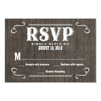 """RSVP Old West Wood Wedding Reply Cards 3.5"""" X 5"""" Invitation Card"""