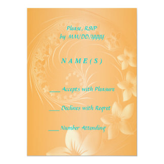 RSVP - Orange Abstract Flowers 6.5x8.75 Paper Invitation Card