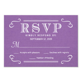 "RSVP Orchid Purple Rustic Burlap Wedding Reply 3.5"" X 5"" Invitation Card"