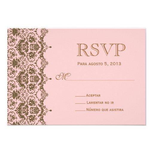 RSVP Para Boda En Espaol Wedding Rsvp 35x5 Paper Invitation Card