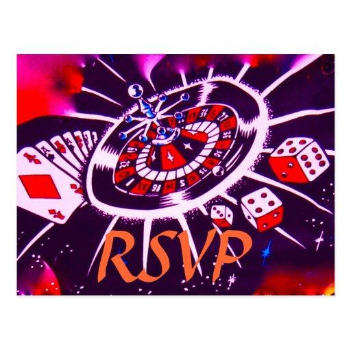 RSVP para la ducha del tema del casino o de Vegas Postal