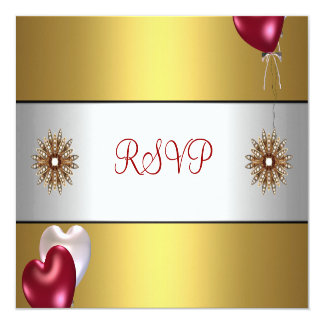 RSVP Party Gold Red White Balloons Floral Jewel 5.25x5.25 Square Paper Invitation Card