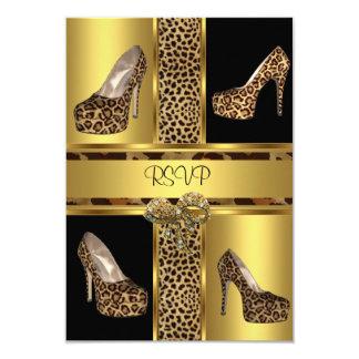 RSVP Party Hi Heel Shoes Leopard Gold Card