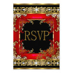 RSVP Party Ornate Red Asian Gold Bamboo Image Card
