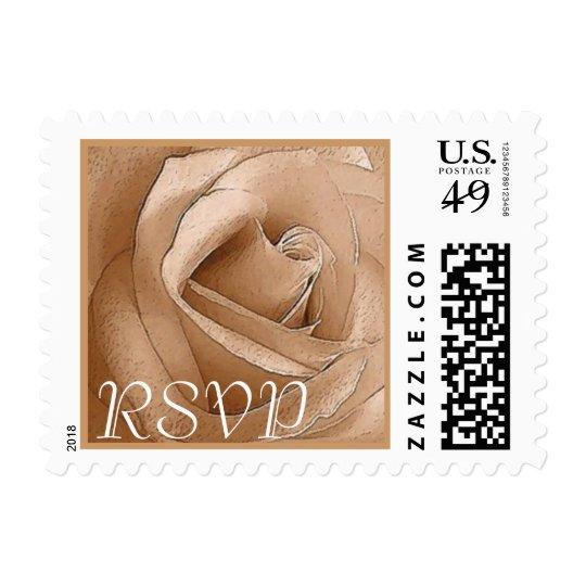 RSVP - Pastel Golden Taupe Rose Customizable Stamp