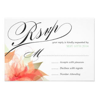 RSVP Peachy Orange Floral Deluxe 2-sided Custom Invitations
