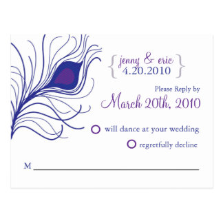 RSVP Peacock Feather Wedding Postcard Blue purple