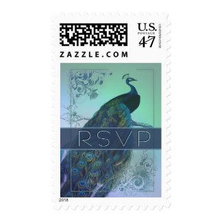 rsvp peacock romantic wedding stamps