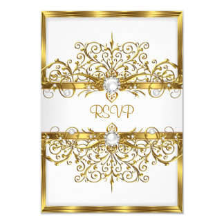 RSVP Pearls White Gold Elegant Birthday Party Card