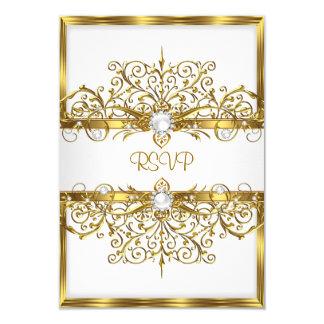 RSVP Pearls White Gold Elegant Birthday Party Card