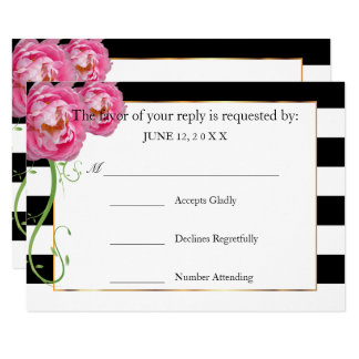 RSVP  Peonies Flowers on Black and White Stripes Card