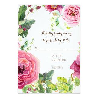 RSVP Peony Rose Wreath Leaf Raspberr Modern Simple Card