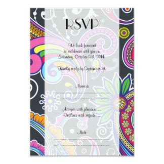 """RSVP - persa Paisley - amarillo azul rosado verde Invitación 3.5"""" X 5"""""""