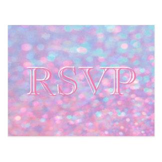 RSVP   Pink Bokeh Lights Postcard