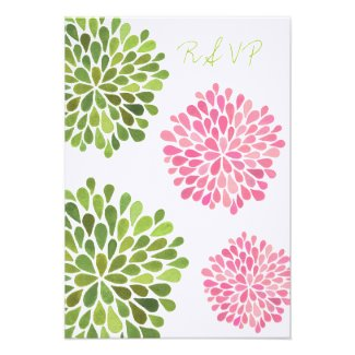 RSVP Pink & Green Floral Blooms Wedding Card Invitation