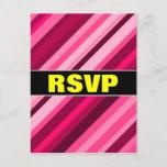 "[ Thumbnail: ""RSVP"" + Pink/Magenta Stripes Pattern Postcard ]"