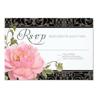 RSVP Pink Peony Fence Elegant Floral Weddings Card